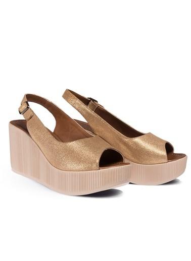 Deery Hakiki Deri Sandalet Altın